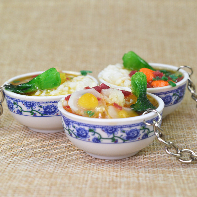 Simulation Rice Food key chain promotional gifts children play house toys kitchen food props key Ring party gift keychain K3012