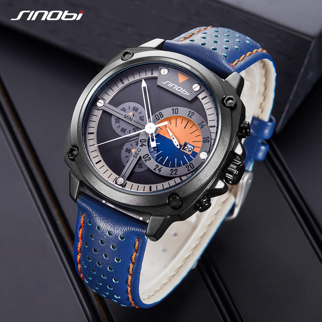 SINOBI 2019 Men Watches Creative Watch Waterproof Chronograph Blue Leather Military Watch Men's Japanese Quartz Wristwatches