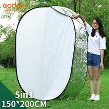 """Godox 59 """"x 79"""" 150x200cm 5 em 1 luz dobrável portátil refletor de fotografia redonda para estúdio"""