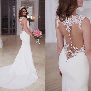 Image 3 - LORIE vestidos de novia de sirena, vestido de novia blanco y marfil transparente con apliques de encaje, sexi, para la playa, a medida, con espalda descubierta