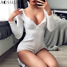 AOSSILIND White Skinny Women Playsuit Sexy V-Neck Long Sleeve Buttons Rompers Autumn Winter Bodysuit
