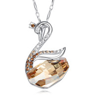 Heezen Luxury Swan Shape Yellow Blue Red Color Pendant Necklace Women Necklace Silver Crystal Pendant Fashion Jewelry for Women
