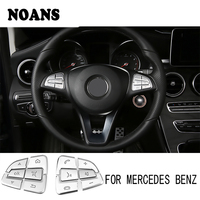 NOANS Car Styling Steering Wheel Button Covers Stickers For Mercedes W205 W246 X253 A B C CLA GLA GLE GLC Class Accessories
