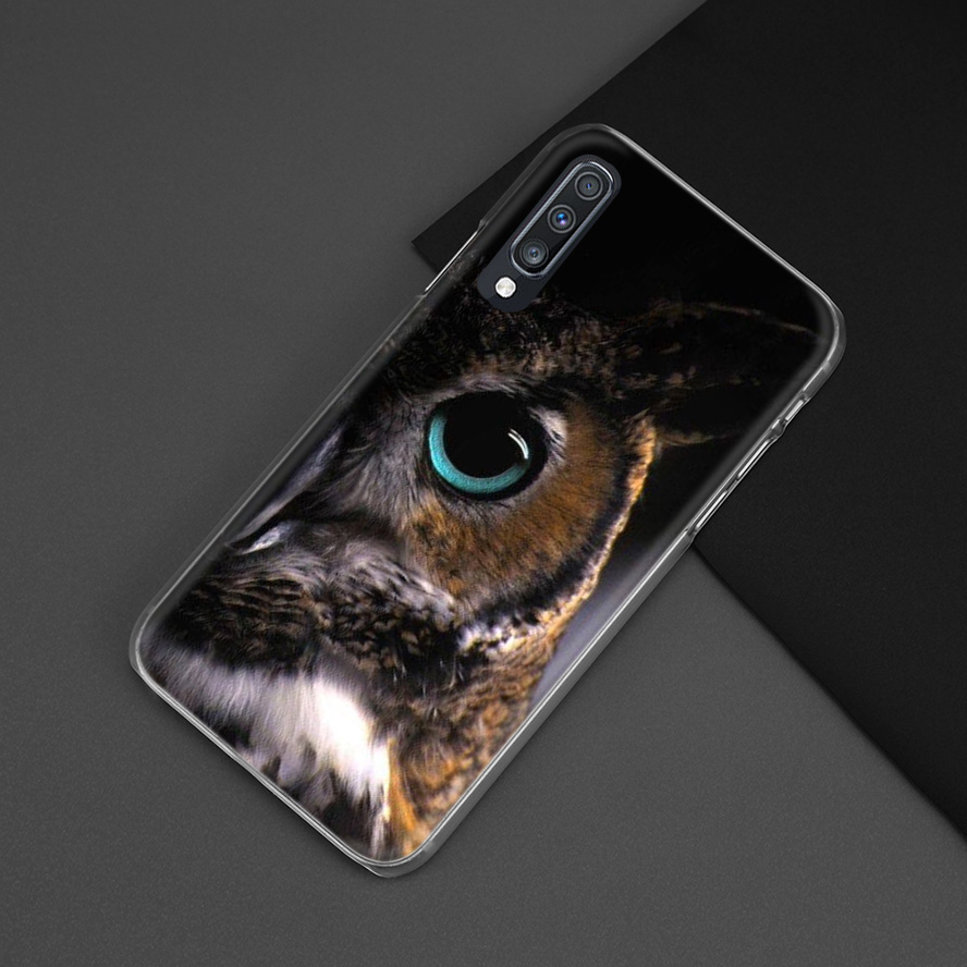 Animal Case For Samsung Galaxy A50 A70 A20e A40 A30 A20 A10 A71 A51 A9 A7 2018 Hard PC Clear Coque Phone Cover Camouflage Owl