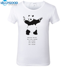 Funny panda T-shirt Destroy Racism Letter Print Women T shirts Short Sleeve Tops Slim White T shirts Girl Casual Tops S544