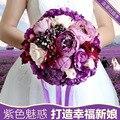 Фиолетовый невеста, холдинг Элегантные Шелковые Свадебные Свадебный Букет Для Романтической Свадьбы Искусственный Невесты Свадебный Цветок Украшения