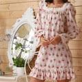 Marca 2017 Salão Sono Das Mulheres Pijamas de Algodão Floral Imprimir Nightdress Nightgowns Vestido de Casa Sexy Branco Plus Size