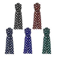 Womens Sleeveless Chiffon Midi Blouse Dress Vintage Large Polka Dot Printed Lapel Collar Button Down A-Line Belted High Waist Sh цена 2017