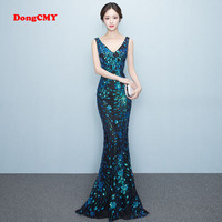 DongCMY WT1022 Prom Dress New 2018 Sexy Fashion Long Party Shiny Backless