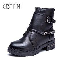 Cestfini модные женские туфли резиновая Сапоги и ботинки для девочек плюшевые сапоги до лодыжки для Для женщин зимние кожаные сапоги Черная Женская обувь размеры 36-41 # B010