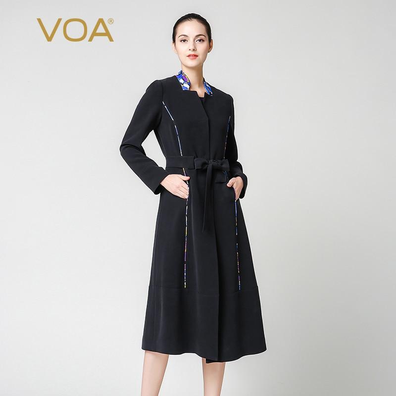 La Plus Tranchée Noir Longues Luxe Manches Voa Femmes Taille F7332 Pour Manteau Dames Soie À Pardessus De q4CA15w