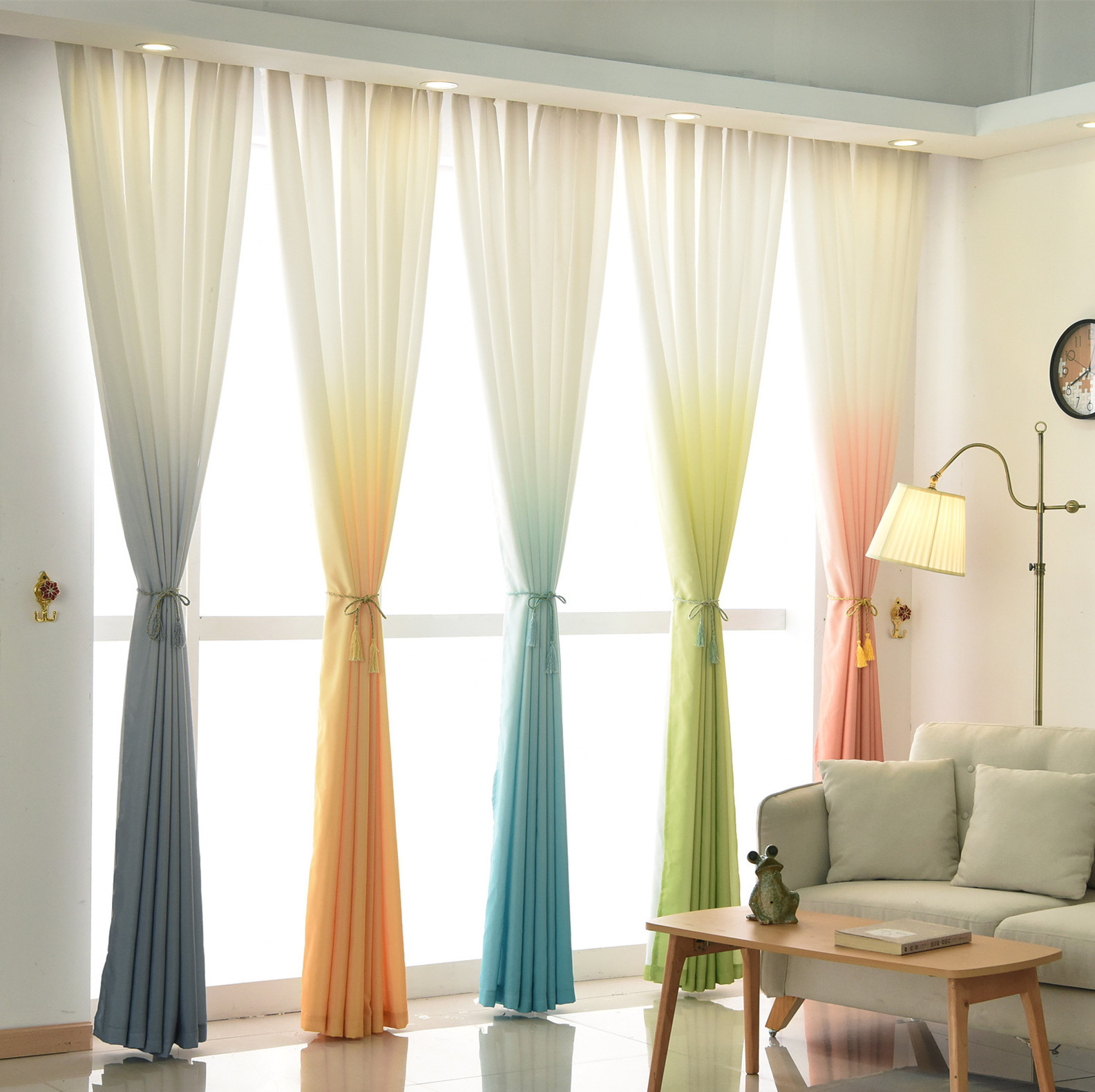 Solid Color Rainbow Summer Curtain Window Modern Bedroom Living Room Voile Sheer Panel Kitchen