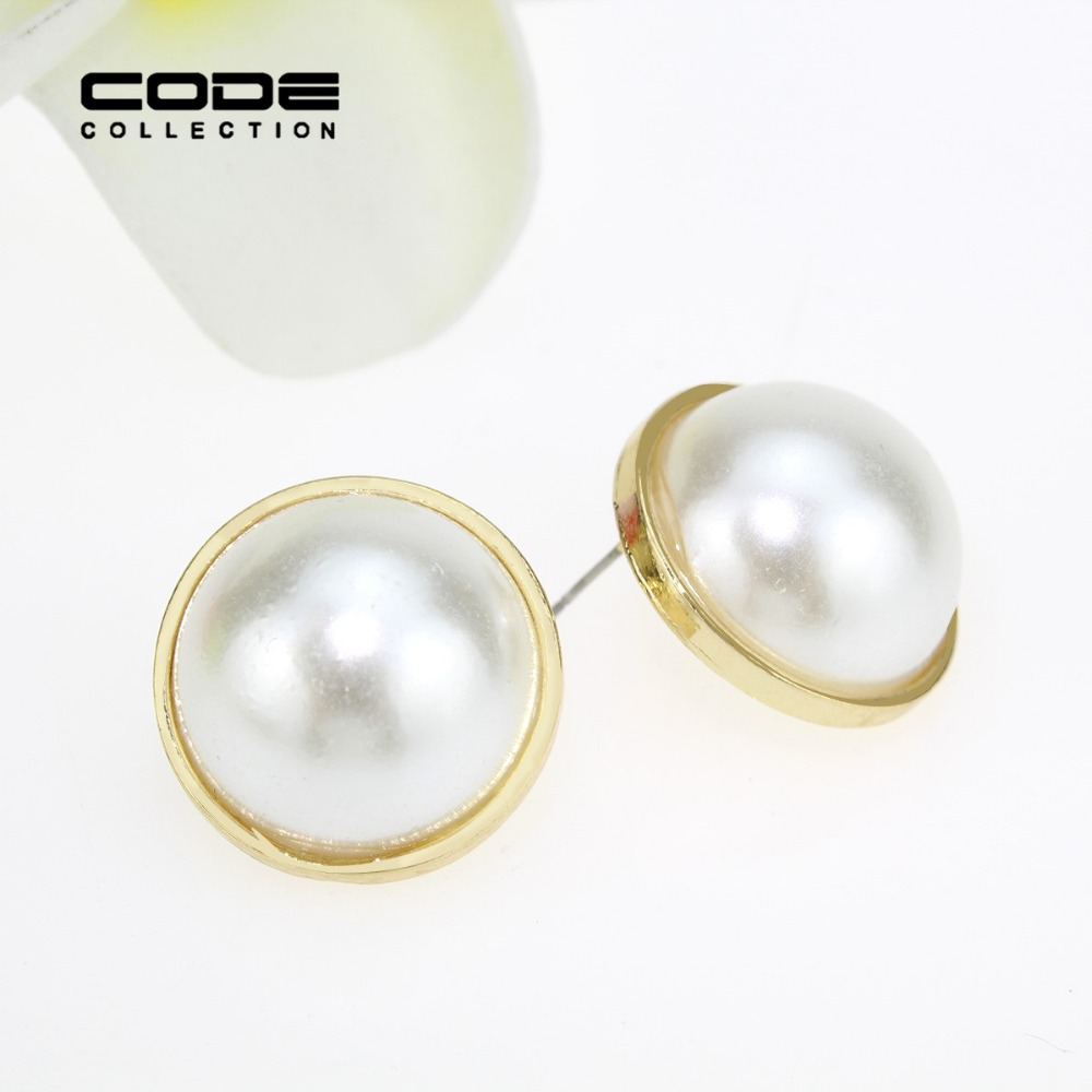 Aliexpress Simulated Pearl Stud Earrings For Women Half Round Ear Elegant Large 2017 Bijoux Er065 From Reliable