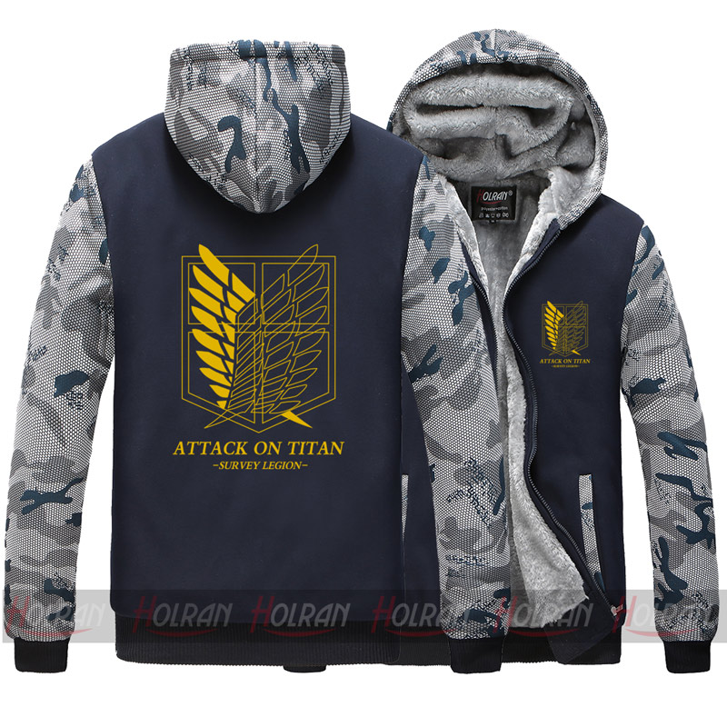 Attack on Titan Shingeki no Kyojin winter fleece jacket thick zipper hoodies