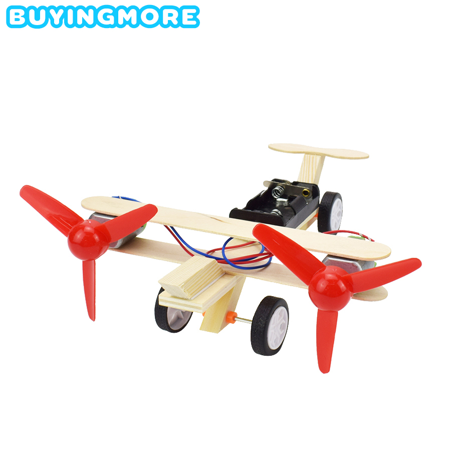 Electric Double Propeller Glider DIY Model Kit Toys For Boys Science Children Creative Physics Toy Handmade Wood Plastic Model