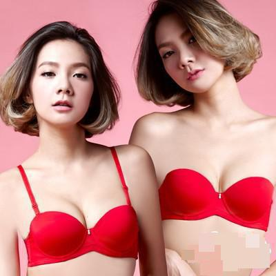 BRZFMRVL AB high Push Up Women Bra 1/2 Cup Thickening Seamless Bra Gathered A Strapless Invisible bra Padded cup wedding bra