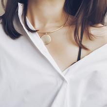 Pendant Chokers Necklaces Sequin Fashion Simple Collar Necklace New Retro Copper Accessories