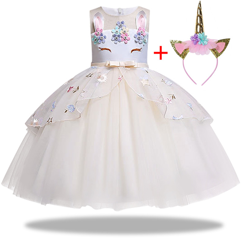 HTB16DAHaEzrK1RjSspmq6AOdFXav New Unicorn Dress for Girls Embroidery Ball Gown Baby Girl Princess Birthday Dresses for Party Costumes Children Clothing