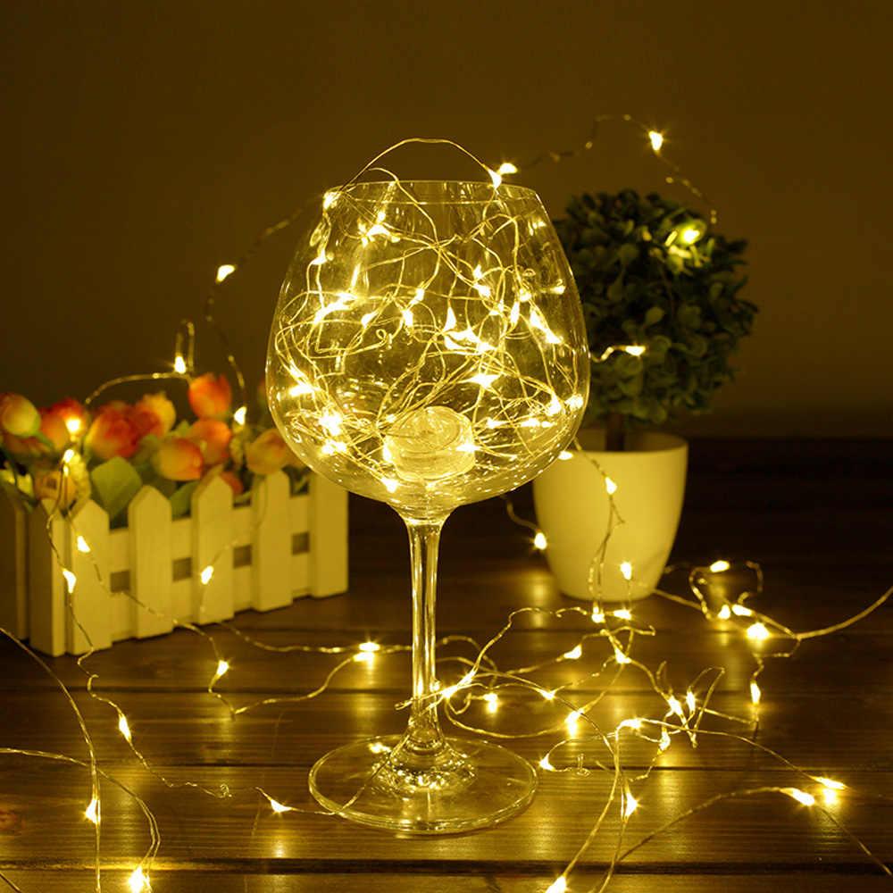 1 м 2 м 3 м 5 м 10 м Медный провод светодиодный Строка Огни праздничного освещения Фея гирлянда для елки Свадебная вечеринка украшения