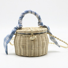 New Women's Shoulder Bag Hand-Woven Beige Straw Bag Woven Straw Beach Bag Bohemian Female Travel Shopping Tote Shoulder Bag two tone straw tote bag
