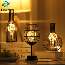 Lámpara de mesa LED blanca cálida de hierro para botellas de vino, lámpara de noche de alambre de cobre Vintage, lámpara creativa para decoración del hogar, Hotel, lámpara de escritorio, lámpara de noche