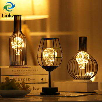 Iron Wine Bottle Warm White LED Table Lamp Vintage Copper Wire Night Light Creative Hotel Home Decoration Desk Lamp Night Lamp