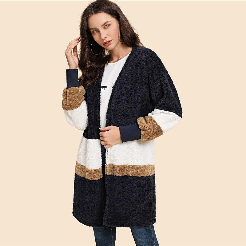 SHEIN Streetwear Multicolor Open Front Color Block Teddy Long Sleeve Coat Winter Modern Lady Elegant Women Coat Outerwear 6