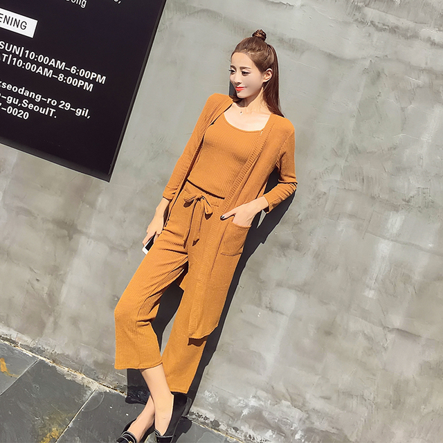 eb727433cb19 3 pcs set women summer knitting wide-legg pants 2 piece set women suit set  two piece set Costumes for women calvin spring autumn