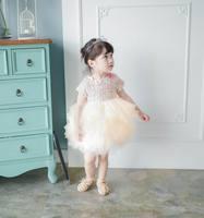 Retail Spring Autumn New Baby Girl Party Dresses Woolen Fluffy Dress Soft Gauze Tiered Dress Children