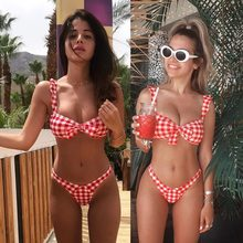 ffc32ef1d4a83 Women's Pink Plaid & Sexy Swimming 한 벌 Push Up Bikini 수 Red Girl 분리 해