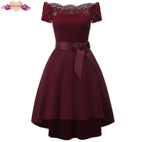 Vintage Off Shoulder Patchwork Lace Dress Elegant Women Summer Rockabilly Dress Backless Party Dresses Vestido De