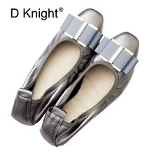 Genuine Leather Flat Shoes Women Casual Square Toe Soft Ballet Shoes Ladies Bow Designer Rubber Sole Casual Flats Shoes Big Size