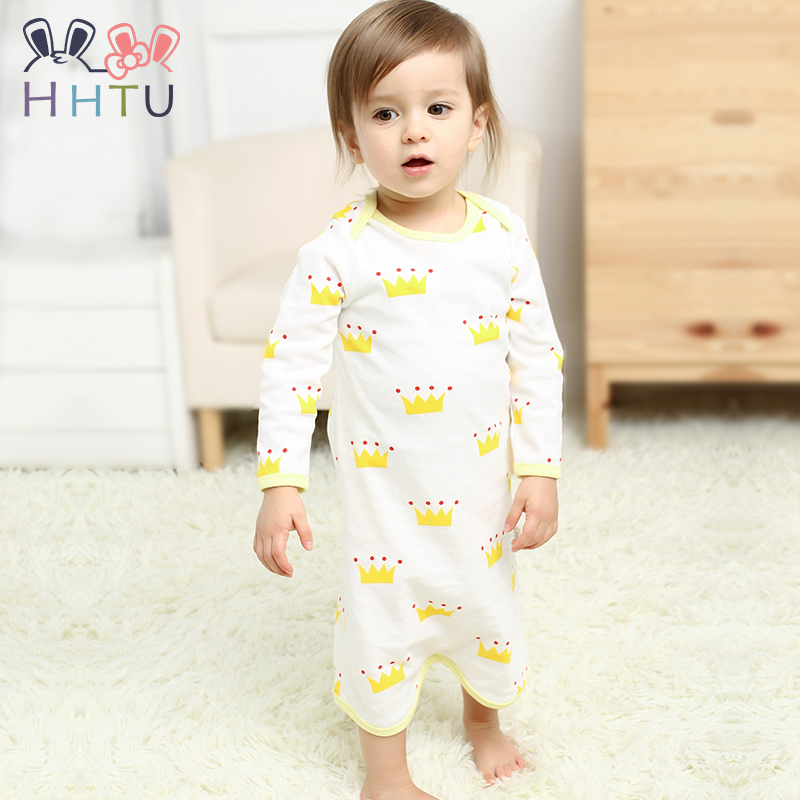 Forceful Hhtu Brand 2017 Newborn Baby Clothes Jumpsuit Collar Fleece Pajamas Infants Baby Clothes Toddler For Summer Spring Boys' Baby Clothing Sleepwear & Robes