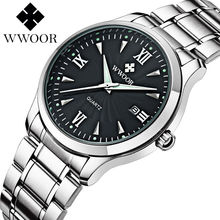 2016 New Brand Watch WWOOR Date Day Stainless Steel Relojes Watches Watched Dress Men Casual Quartz Watch Sport Wristwatch Style