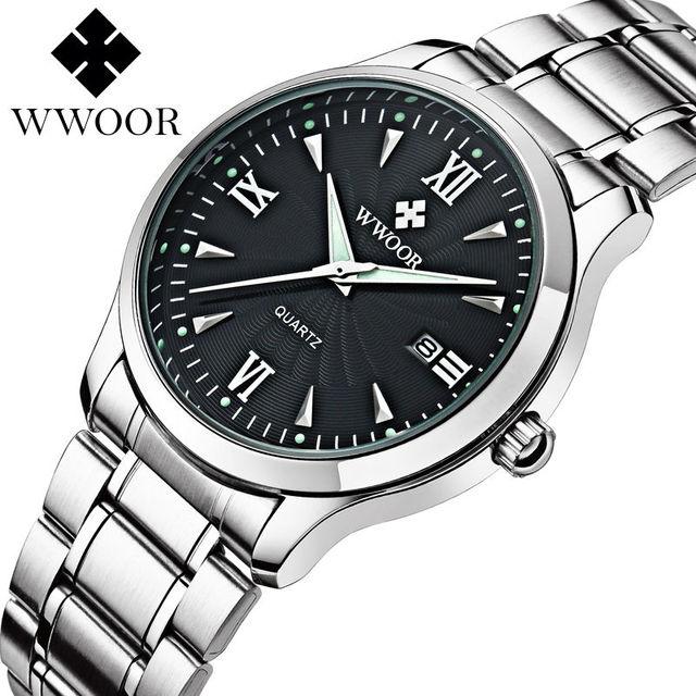 2016 Nuevo Reloj de la Marca WWOOR Fecha Día Relojes Relojes de Acero Inoxidable Vio Estilo Vestido de Los Hombres Reloj de Cuarzo Ocasional Reloj Deportivo