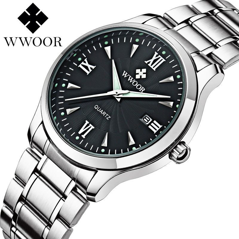 2017 New Brand Watch WWOOR Date Day Stainless Steel Relojes Watches Watched Dress Men Casual Quartz
