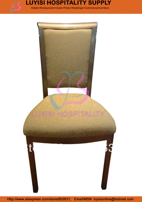 Stacking Wood Grain Aluminum Dining Chair LUYISI899A