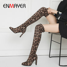 ENMAYER 2019 Over-the-Knee Boots New Women Boots Pointed Toe Faux Suede Thin Heels Leopard Stretch Women Boots Winter Size 34-43 morazora 2018 new arrive over the knee boots fashion shoes cow suede thin heels boots top quality womens boots big size 34 41