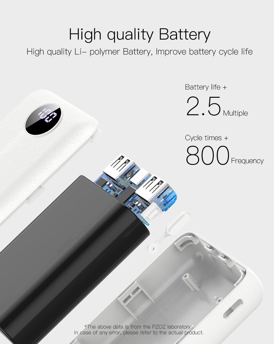 PZOZ Power Bank 10000mAh Dual USB Mobile Phone External Battery Fast Charge For iphone xiaomi mi Portable Charger mini PowerBank 13