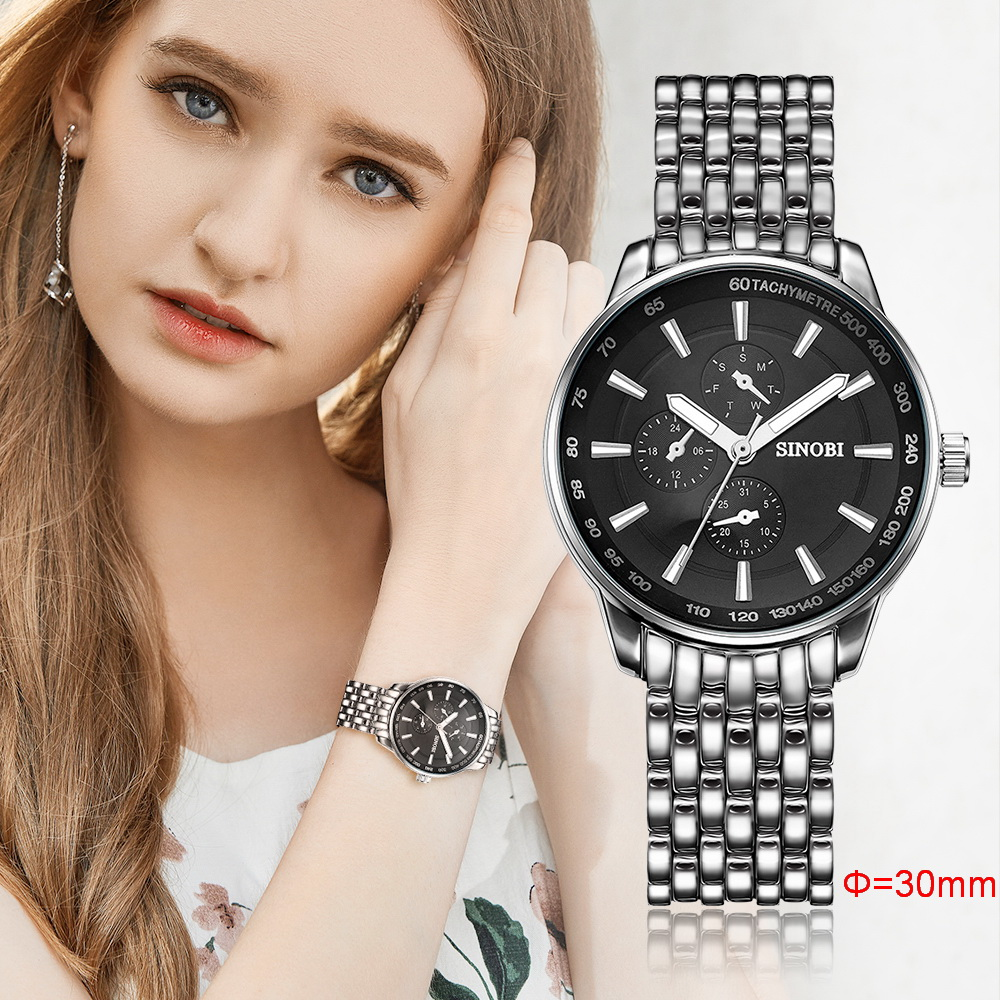 Newest SINOBI Ladies Watches Top Brand Luxury Metal Strap Wristwatch Women Gifts Quartz Watch Promotion Clock Relogio Masculino