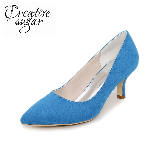 11feb79469f0 Creativesugar Elegant pointed toe woman low medium heel concise design suede  pumps 6cm shoes sky blue green peach nude blush