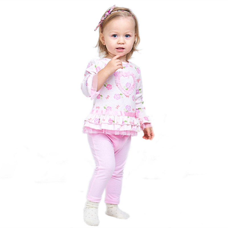 Sweet Baby Girl Clothes Sets Floral Long Sleeve Infants Tees & Pant Princess Girls Clothing Suit for Autumn Girls Wear