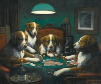 Famous Animal Wall Art Oil Painting Dogs Playing Poker 1894 By Cassius Marcellus Coolidge Home Decor