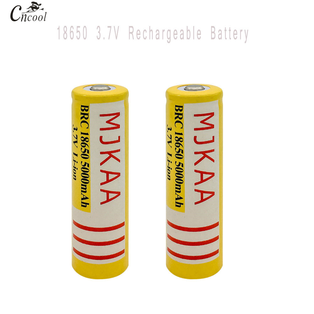 MJKAA 2pcs 18650 Rechargeable Battery(not AA Battery) 3.7v 5000mAh Lithium Li-ion Battery Bateria for Flashlight Headlamp
