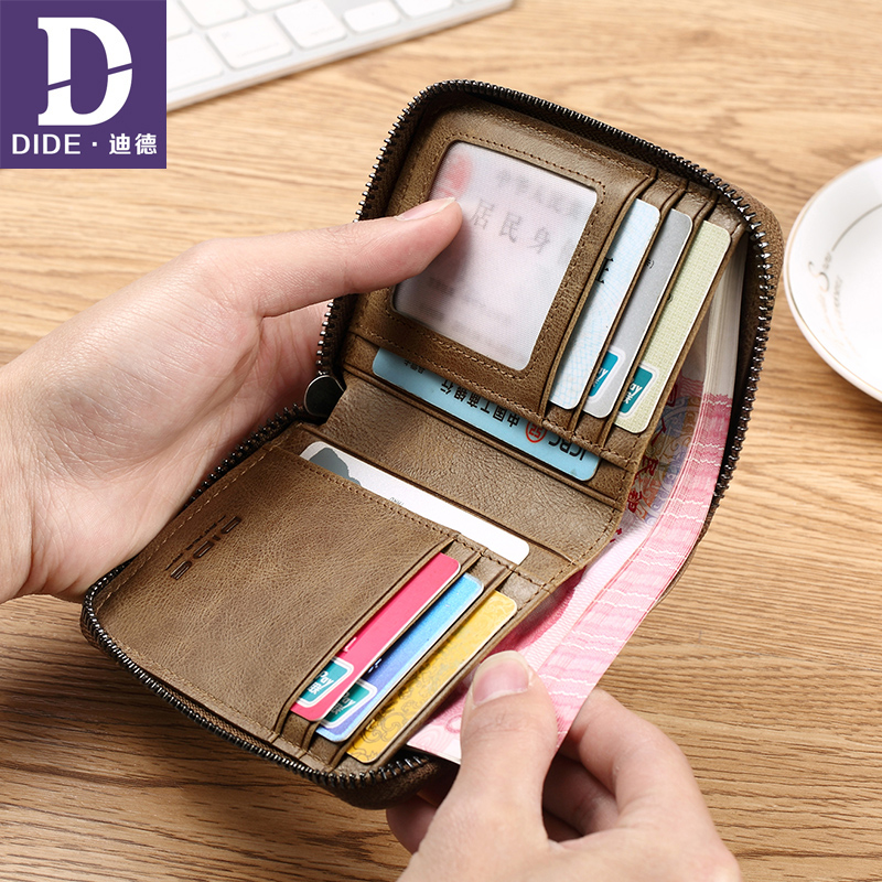 DIDE Genuine Leather Wallet Male Short Coin Purse Cowhide Card Holder Small Wallet Mini Photo Holder Vintage Designer Men DQ710K dalfr genuine leather mens wallets card holder male short wallet 6 inch cowhide vintage style coin purse small wallet