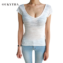 Oukytha sexy T-shirt women summer short-sleeved 2018 new self-cultivation leak back low-collar t shirt  strapless basic GQZ17069