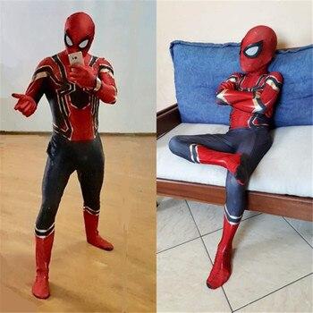 Kinderen dag Carnaval Party Iron Spiderman Kostuum Spandex Cosplay Spider Man Kids Volwassen Kostuums Bodysuit Pak Jumpsuit