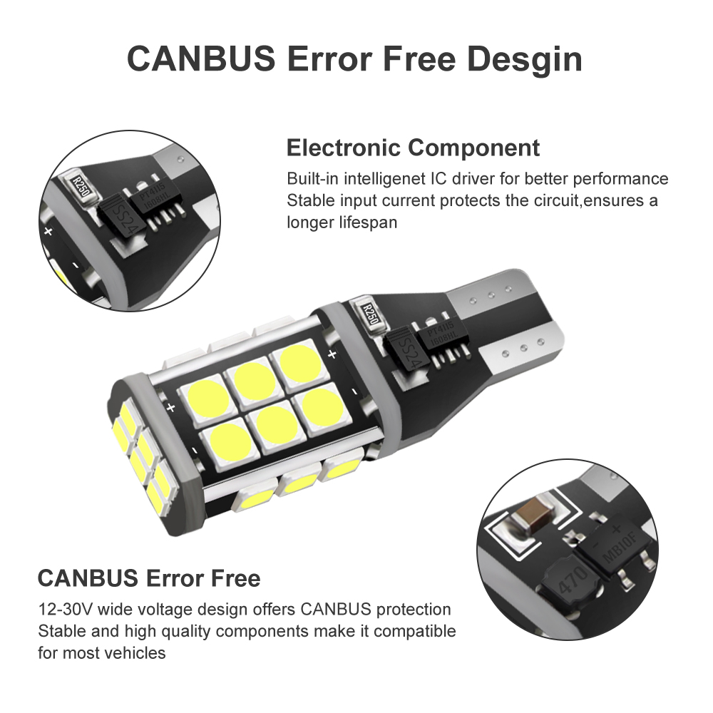 20pcs T15 W16W LED Bulbs 921 912 Canbus Backup Light High Power 3030 SMD 6000K White Auto Car Wedge Reverse Parking Lamp DC 12V in Signal Lamp from Automobiles Motorcycles