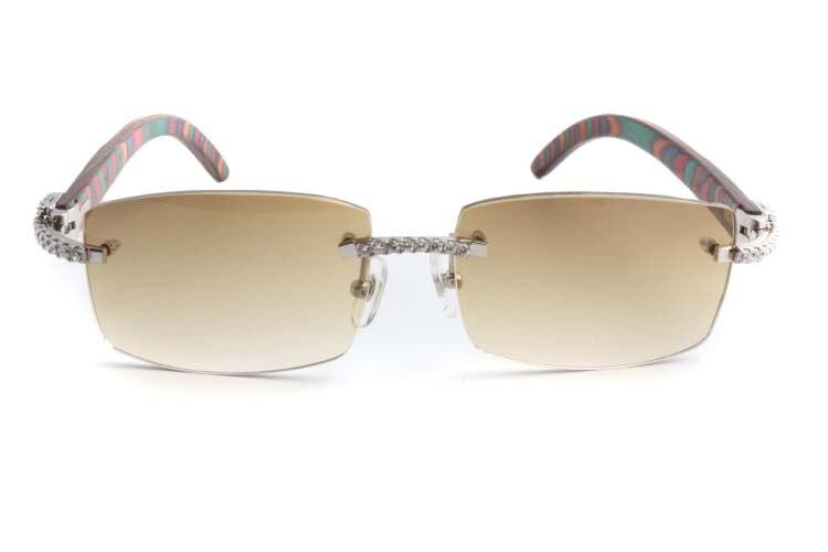Cartier 3524012 New Diamond Peacock Wood Sunglasses Silver (2)