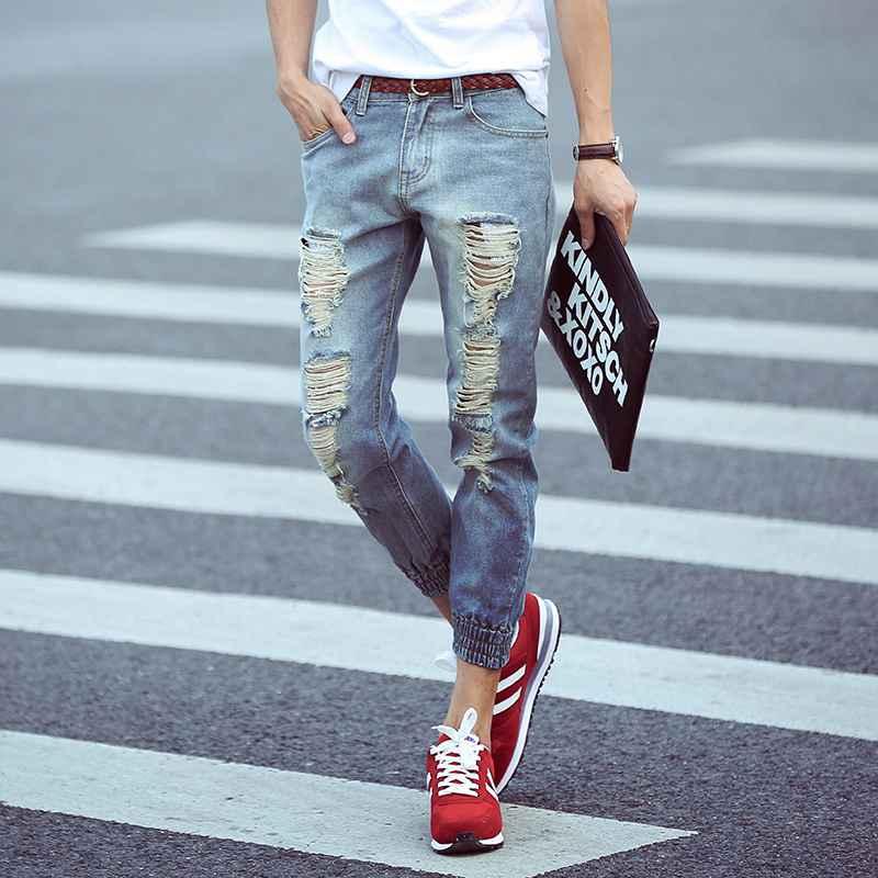 #1419 Ripped jeans men Fashion Summer 2016 Harem pants Ankle Mens biker jeans Distressed Mens jogger Hip hop jeans Designer